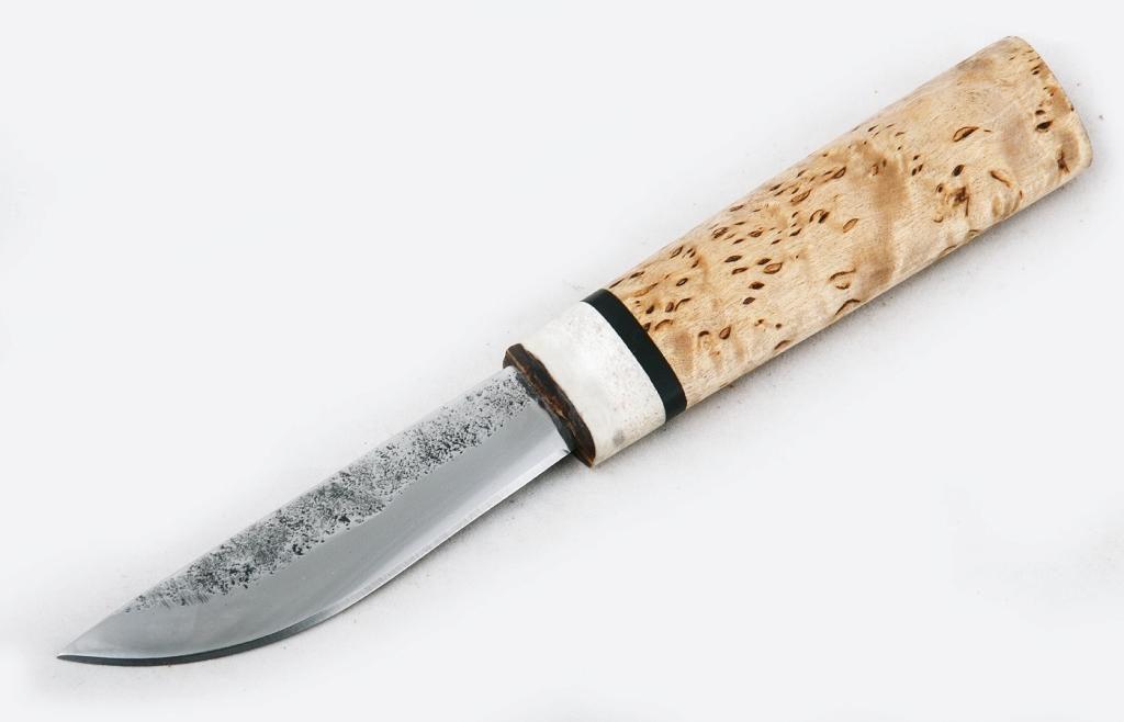 Нож Якутский малый. Х12МФ, карельская береза, рог.