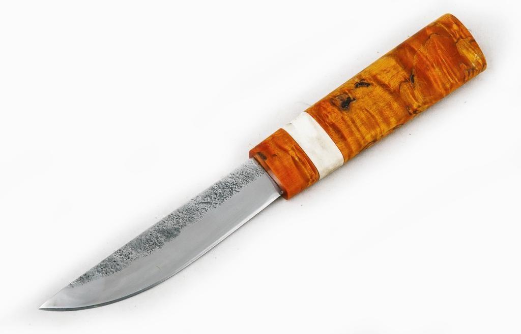 Нож Якутский средний. Х12МФ, стабилизированная карельская береза, рог лося.
