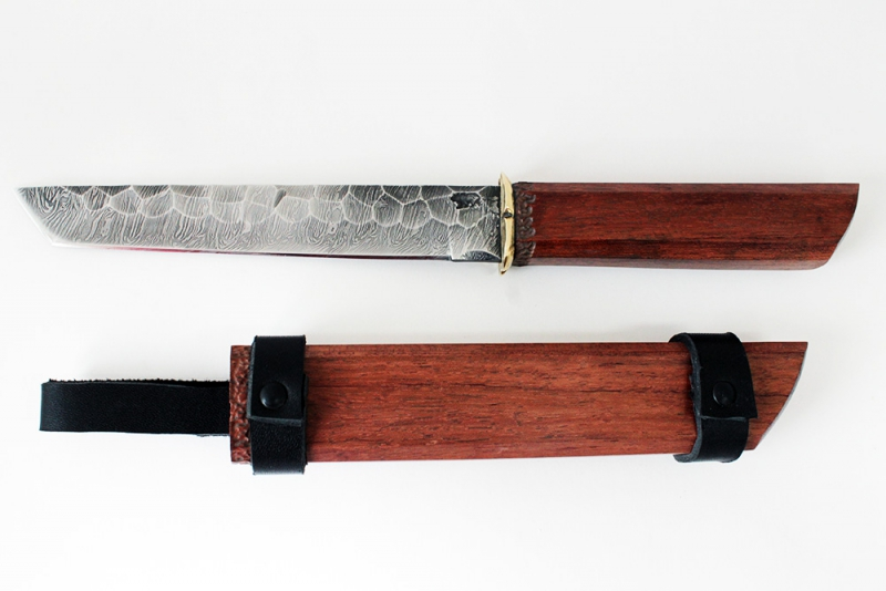 Нож Танто. Дамаск, долы под камень, бубинга