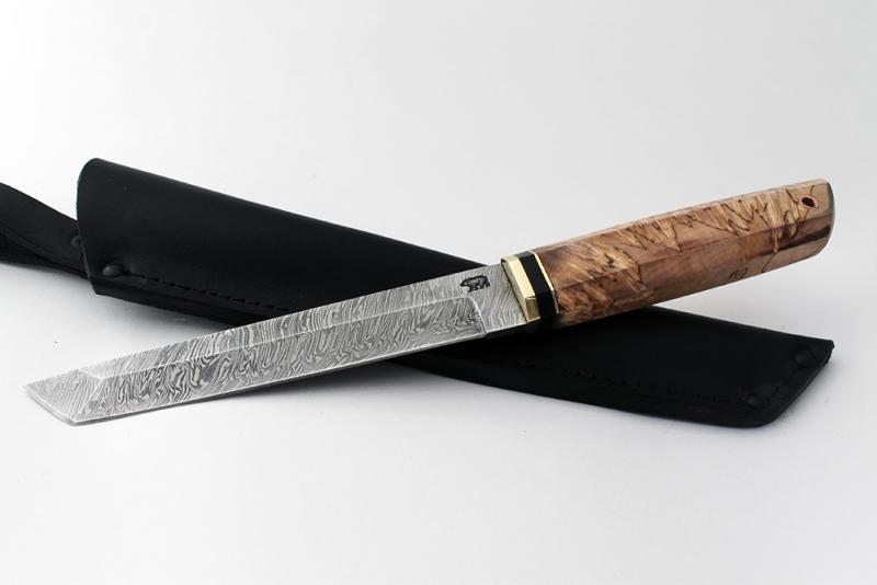 Нож Танто. Дамаск, карельская береза.