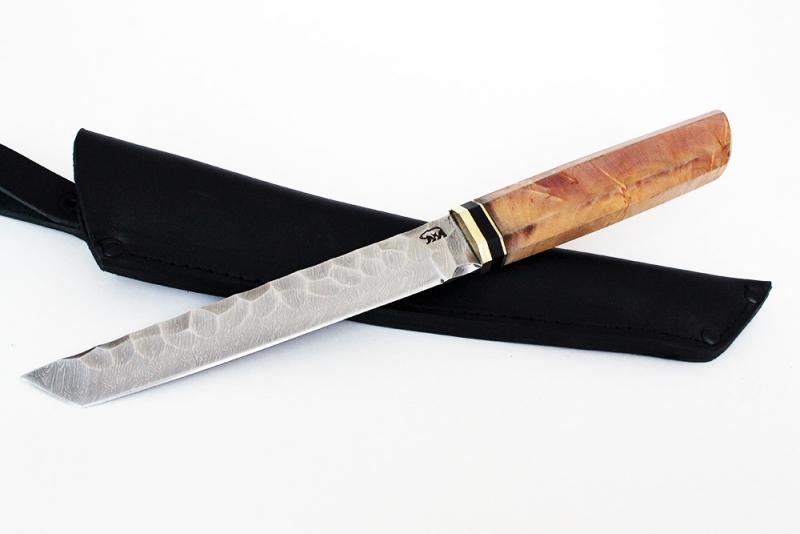 Нож Танто. Дамаск, долы под камень, карельская береза
