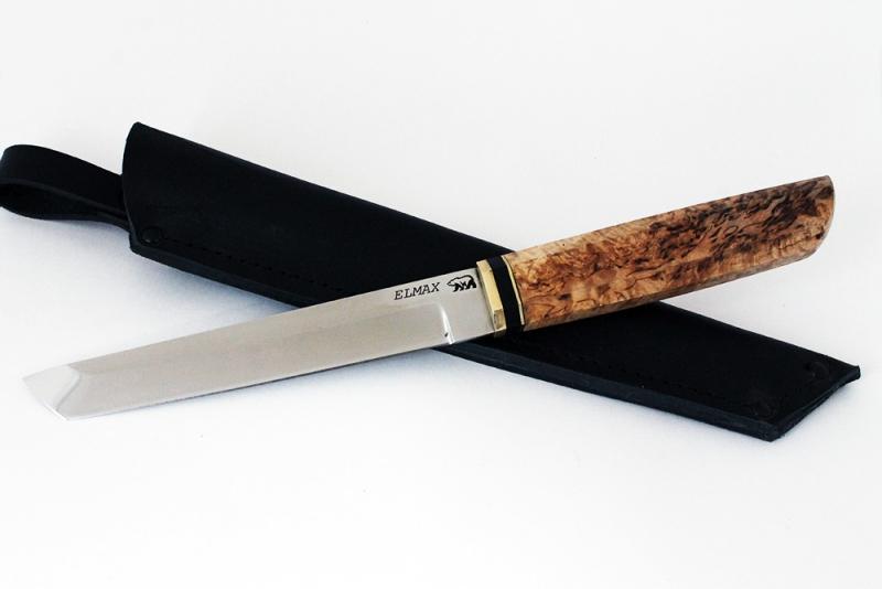 Нож Танто. Elmax, карельская береза.