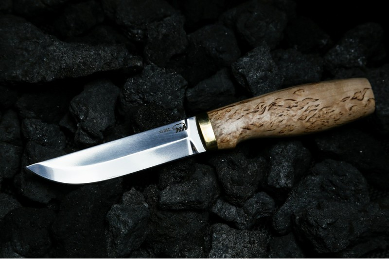 Нож Пуукко 2. Х12МФ, карельская береза.