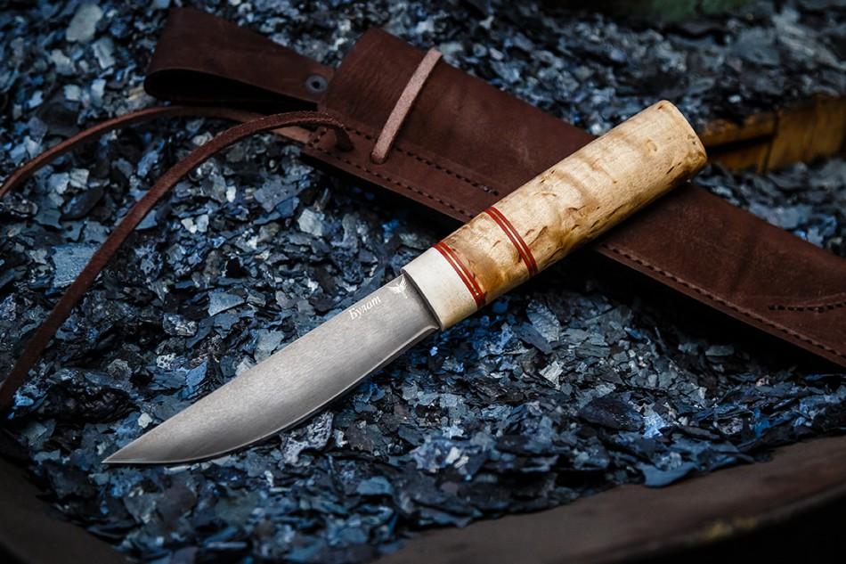 Нож Якутский малый. Булат, карельская береза, рог лося.