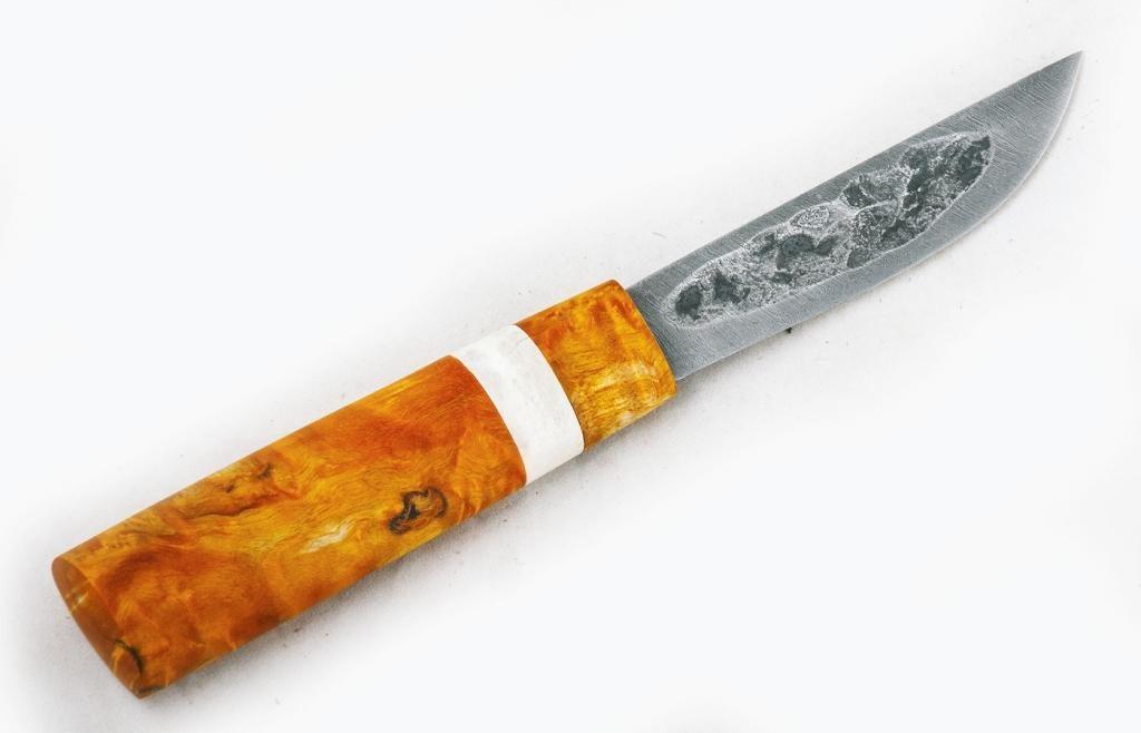 Нож Якутский малый. Дамаск, стабилизированная карельская береза, рог лося.